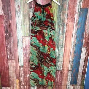 Valerie Bertinelli beautiful patterned maxi Dress